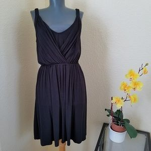 LOFT Ann Taylor Rayon Casual Black Crossover Dress
